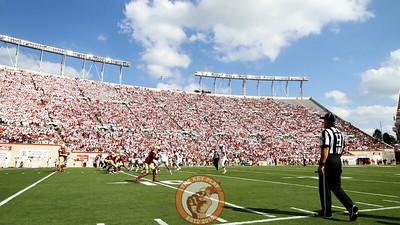 Fans in Lane Stadium wear all white for Military Appreciation Day. (Mark Umansky/TheKeyPlay.com)