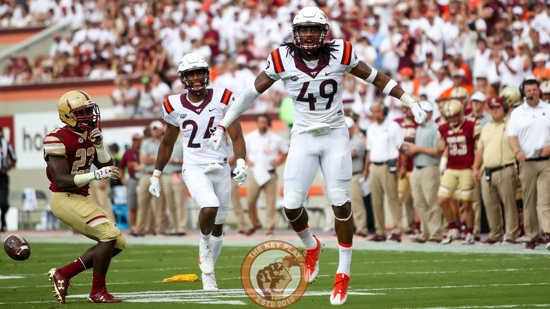 LB Tremaine Edmunds (49) celebrates after forcing another Boston College punt on 3rd down. (Mark Umansky/TheKeyPlay.com)