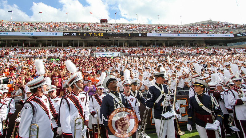 Both of Virginia Tech's marching bands, the Highty Tighties and the Marching Virginians, gather in the South endzone before their halftime show. (Mark Umansky/TheKeyPlay.com)