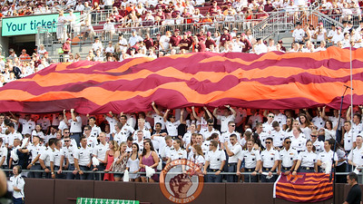 The Corps of Cadets unfurl a large VT flag in the South endzone before the start of the third quarter. (Mark Umansky/TheKeyPlay.com)