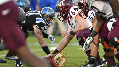 Virginia Tech offensive lineman Eric Gallo (64) awaits the snap. (Michael Shroyer/TheKeyPlay.com)