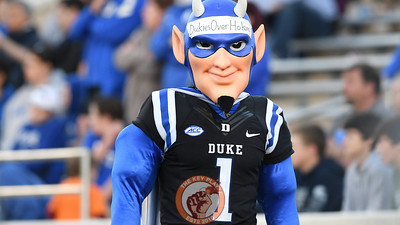 The Duke Blue Devils mascot walks around with fake muscles and a lie taped to his head. (Michael Shroyer/TheKeyPlay.com)