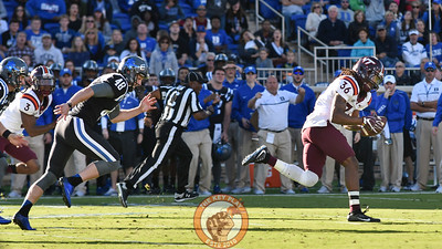 Virginia Tech cornerback Adonis Alexander (36) recovers the blocked kick and returns it for a touchdown. (Michael Shroyer/TheKeyPlay.com)