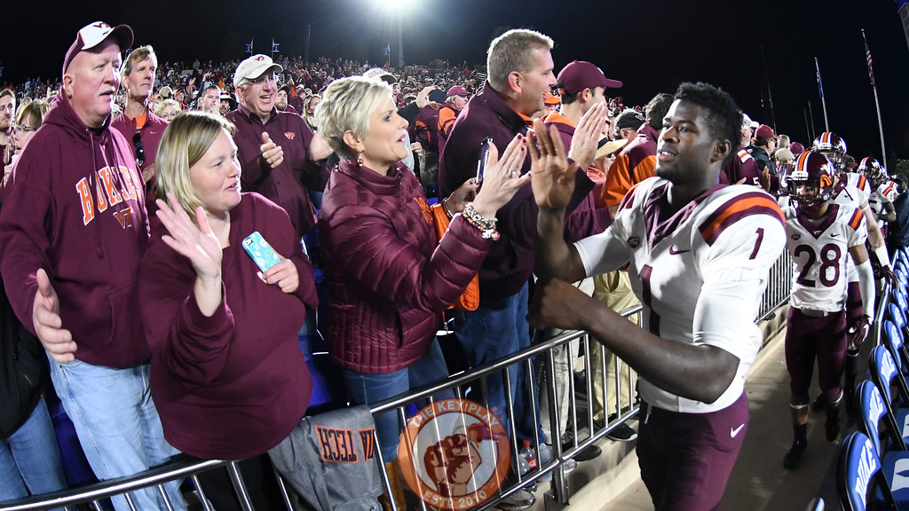 Virginia Tech wide receiver Isaiah Ford (1) celebrates with fans following the victory. (Michael Shroyer/TheKeyPlay.com)