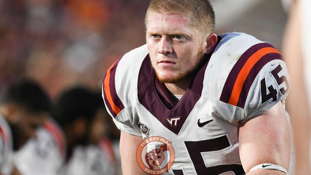 Virginia Tech full back Sam Rogers (45) takes a break on the sideline. (Michael Shroyer/TheKeyPlay.com)