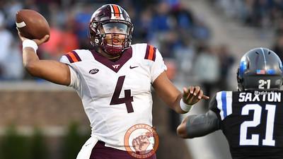 Virginia Tech quarterback Jerod Evans (4) throws against Duke. (Michael Shroyer/TheKeyPlay.com)
