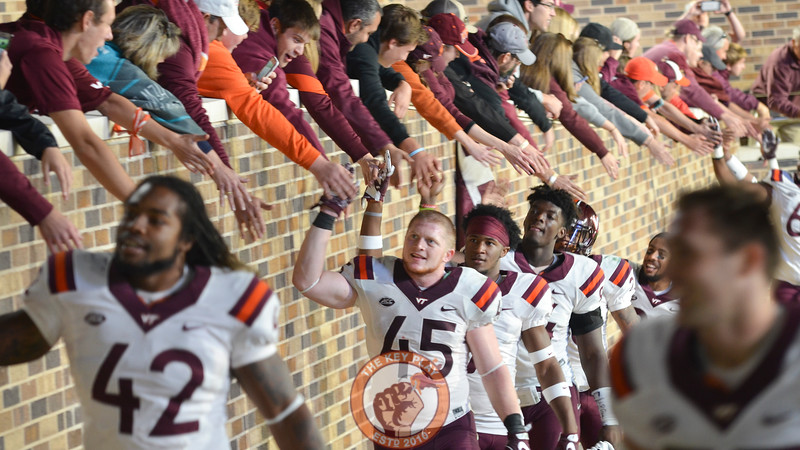 Virginia Tech full back Sam Rogers (45) and teammates complete their victory lap around Wallace Wade Stadium. (Michael Shroyer/TheKeyPlay.com)