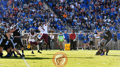 Virginia Tech defensive back Greg Stroman (3) blocks the field goal attempt by Duke kicker AJ Reed (48). (Michael Shroyer/TheKeyPlay.com)