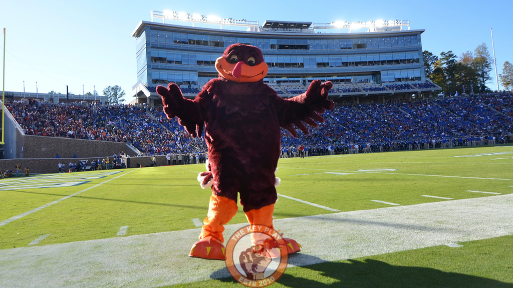The HokieBird poses on the sideline following an early Virginia Tech touchdown. (Michael Shroyer/TheKeyPlay.com)
