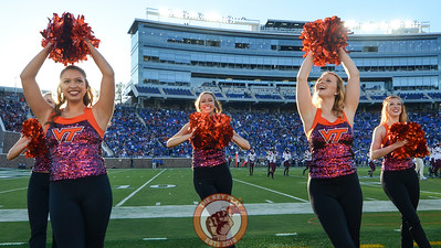 Members of the Virginia Tech Hokies dance team, the HighTechs, perform on the sideline. (Michael Shroyer/TheKeyPlay.com)