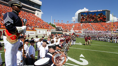 The Corps of Cadets lines up on the North side of the field for Enter Sandman (Mark Umansky/TheKeyPlay.com)
