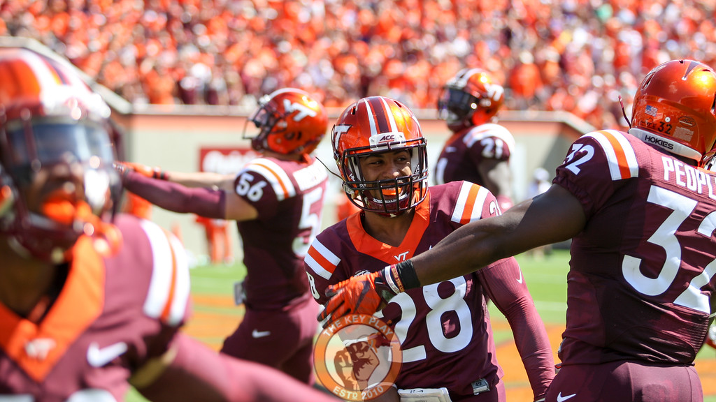 CB Curtis Williams (28) smiles in the endzone after a Virginia Tech touchback. (Mark Umansky/TheKeyPlay.com)