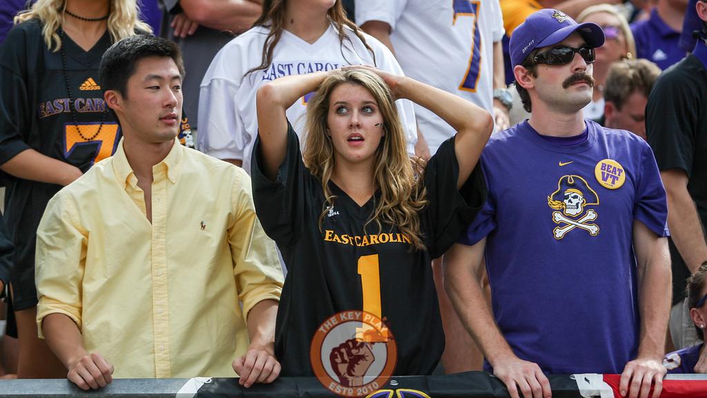 ECU fans look on in shock after Jerod Evans' touchdown run in the third quarter. (Mark Umansky/TheKeyPlay.com)
