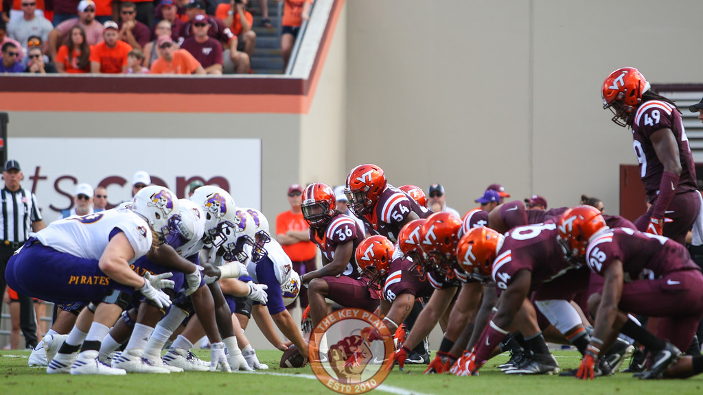 The Hokies line up for a field goal block attempt in the second quarter. DT Tim Settle was able to get a hand up to block the kick. (Mark Umansky/TheKeyPlay.com)