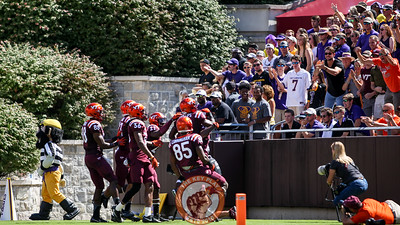 The Hokies score the game's opening points on a punt return touchdown right in front of the visiting ECU fan section. (Mark Umansky/TheKeyPlay.com)