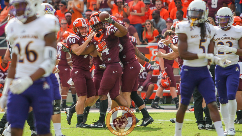 Anthony Shegog (24) puts a cap on the game  after recovering an ECU punt late in the fourth. Virginia Tech defeated ECU 54 to 17. (Mark Umansky/TheKeyPlay.com)