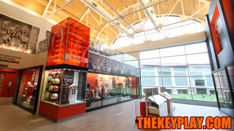 The main entrance to the newly renovated Merryman center has a view of the practice fields and of Lane Stadium. (Mark Umansky/TheKeyPlay.com)
