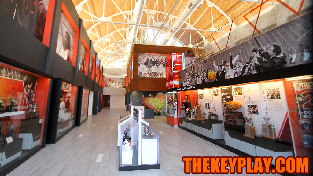 The inside of the newly renovated Merryman center shows off the history of Hokies football. (Mark Umansky/TheKeyPlay.com)