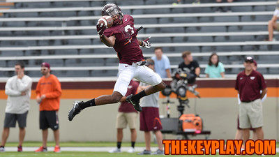Defensive back Greg Stroman (3) makes a leaping catch during practice. (Michael Shroyer/ TheKeyPlay.com)