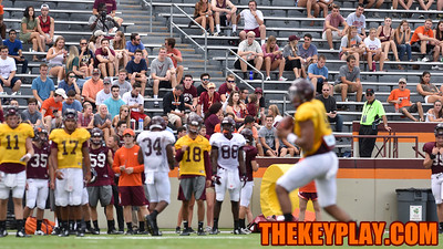Virginia Tech students observe an open football practice from the west stands. (Michael Shroyer/ TheKeyPlay.com)