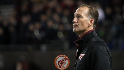 Virginia Tech athletic director Whit Babcock looks up at the scoreboard near the end of the game. (Mark Umansky/TheKeyPlay.com)