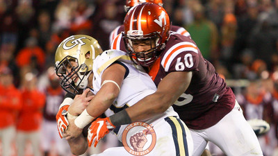 Virginia Tech DE Woody Baron (60) wraps up Georgia Tech QB Matthew Jordan for a tackle. (Mark Umansky/TheKeyPlay.com)