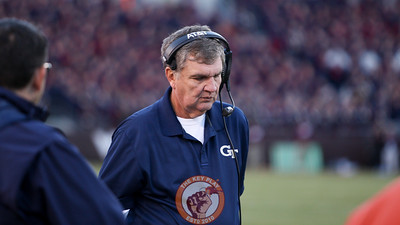 Georgia Tech head coach Paul Johnson walks the sidelines in the first half. (Mark Umansky/TheKeyPlay.com)