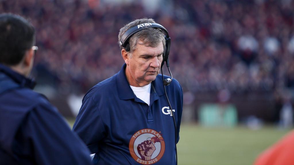 Georgia Tech head coach Paul Johnson walks the sidelines in the first half. (Mark Umansky/TheKeyPlay.com)