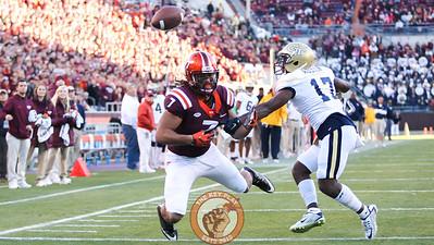 Virginia Tech WR Bucky Hodges (7) falls into the endzone after Georgia Tech DB Lance Austin (17) knocks a pass away. (Mark Umansky/TheKeyPlay.com)