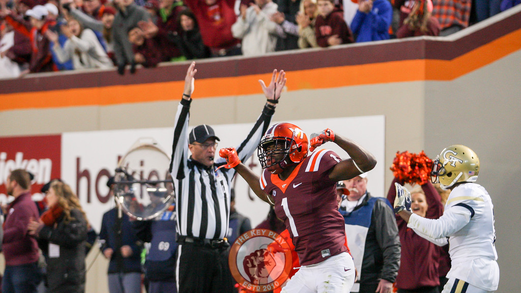 Virginia Tech WR Isaiah Ford (1) celebrates after his touchdown catch. (Mark Umansky/TheKeyPlay.com)