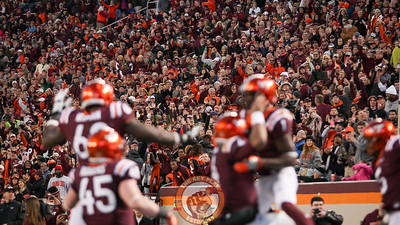 Fans in Lane Stadium celebrate the first touchdown of the day for the Hokies. (Mark Umansky/TheKeyPlay.com)