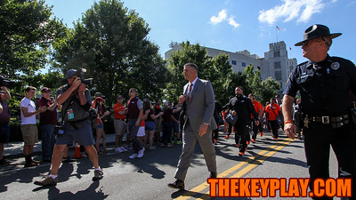 Head coach Justin Fuente heads to the locker rooms during the first Hokie Walk of his career. (Mark Umansky/TheKeyPlay.com)