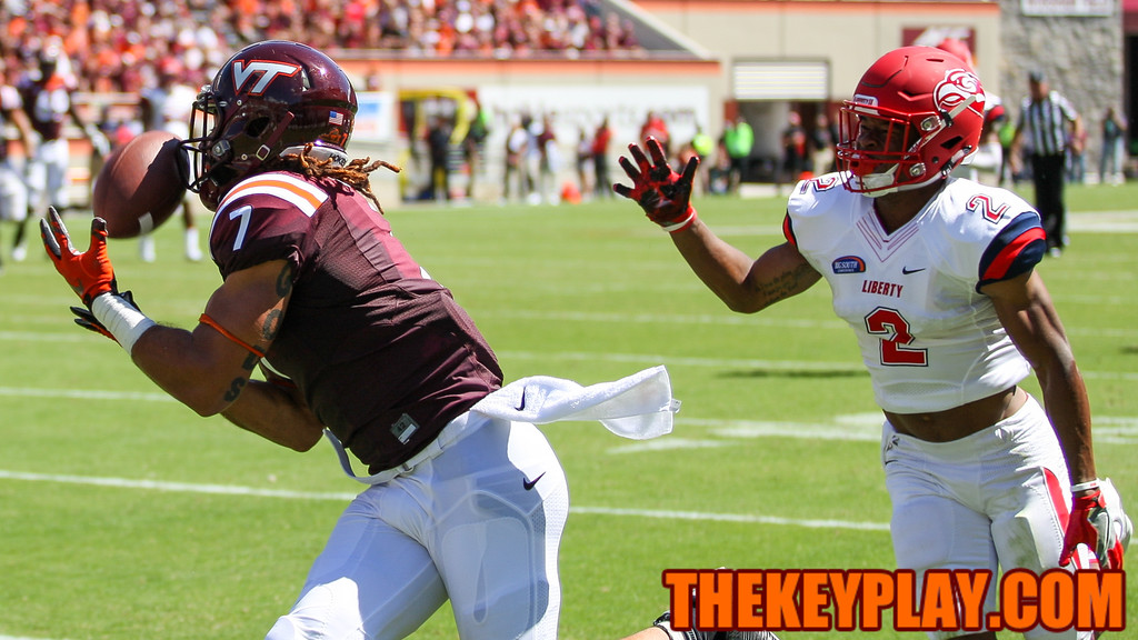Bucky Hodges catches his second touchdown pass of the day in the corner of the endzone in the third quarter. (Mark Umansky/TheKeyPlay.com)