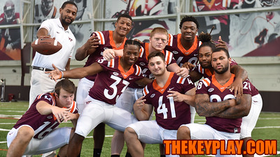 The running back unit poses for their fun group photo. (Michael Shroyer/ TheKeyPlay.com)