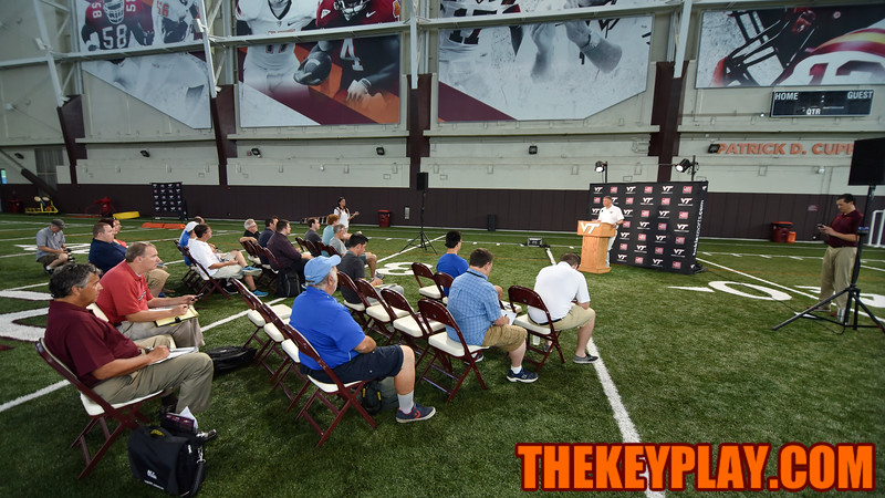 Head coach Justin Fuente addresses media members to begin Media Day. (Michael Shroyer/ TheKeyPlay.com)