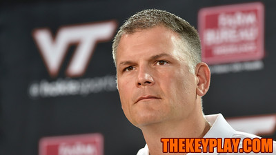 Head coach Justin Fuente speaks to assembled members of the media on Media Day. (Michael Shroyer/ TheKeyPlay.com)