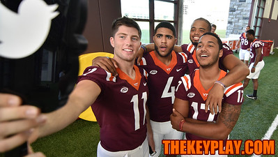 Quarterbacks (l to r) Jack Click, Jerod Evans, Brenden Motley, and Josh Jackson pose for an official @VT_Football selfie. (Michael Shroyer/ TheKeyPlay.com)