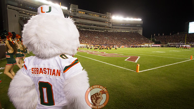 Sebastian the Ibis watches the field during a media timeout. (Mark Umansky/TheKeyPlay.com)