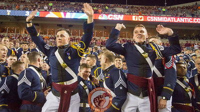Members of the Virginia Tech Corps of Cadets dance during a media timeout. (Mark Umansky/TheKeyPlay.com)