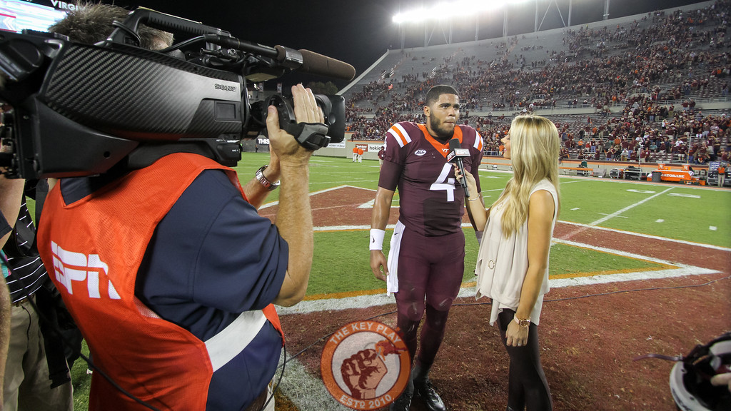 QB Jerod Evans is interviewed by ESPN's Laura Rutledge after the game. (Mark Umansky/TheKeyPlay.com)
