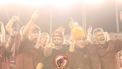 Fans celebrate after a big Virginia Tech play. (Mark Umansky/TheKeyPlay.com)