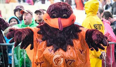The HokieBird dressed and ready for Hurricane Matthew. (Michael Shroyer/ TheKeyPlay.com)
