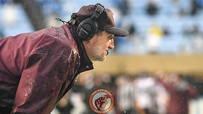 Virginia Tech Hokies defensive coordinator Bud Foster looks on during a rainy first half. (Michael Shroyer/ TheKeyPlay.com)