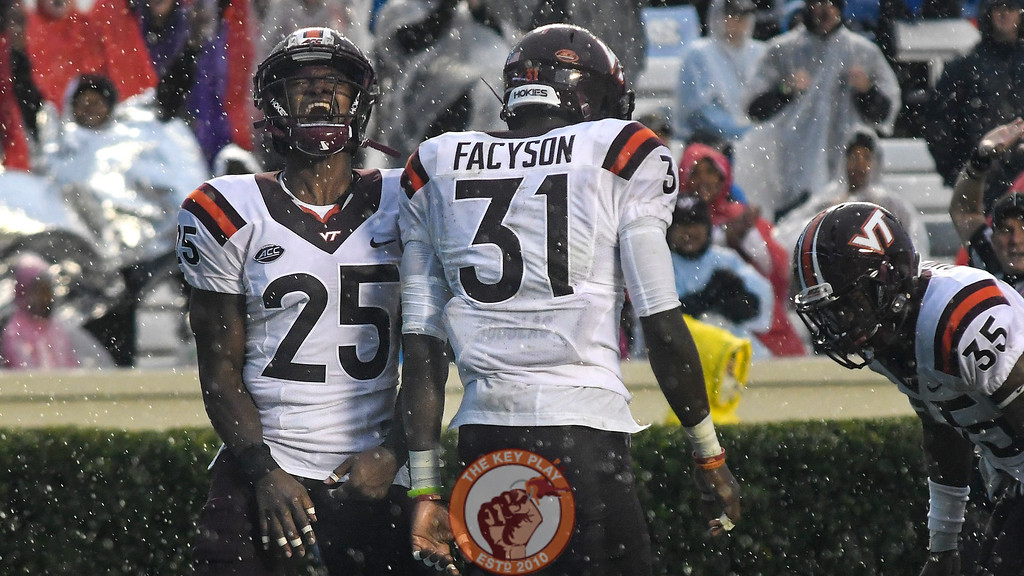 Virginia Tech wide receiver Cam Phillips (25) celebrates the turnover following the muffed snap. (Michael Shroyer/ TheKeyPlay.com)