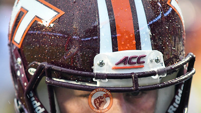 A detailed view of Virginia Tech kicker Joey Slye's (46) helmet. (Michael Shroyer/ TheKeyPlay.com)