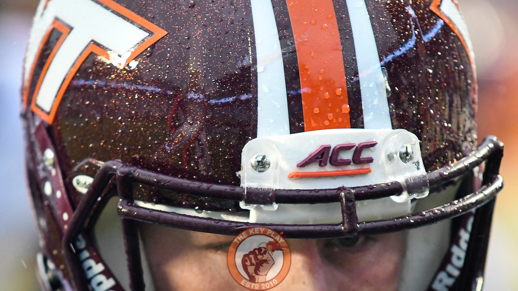 A detailed view of Virginia Tech kicker Joey Slye's (46) helmet. (Michael Shroyer/ TheKeyPlay.com)