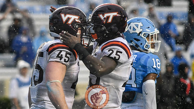 Virginia Tech full back Sam Rogers (45) celebrates his touchdown with wide receiver Cam Phillips. (Michael Shroyer/ TheKeyPlay.com)