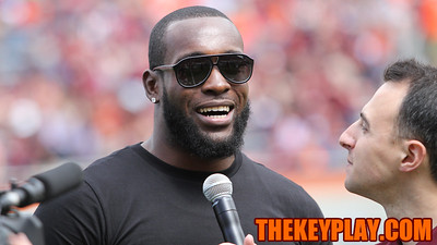 Former Virginia Tech defensive back Kam Chancellor is interviewed on Hokievision at halftime. (Mark Umansky/TheKeyPlay.com)
