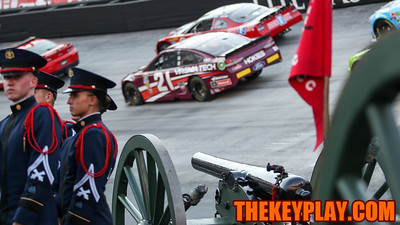 Skipper, the Virginia Tech Corps of Cadets cannon, stands ready inside one of the turns at Bristol Motor Speedway, where racecars are set up in a mock racing configuration. (Mark Umansky/TheKeyPlay.com)