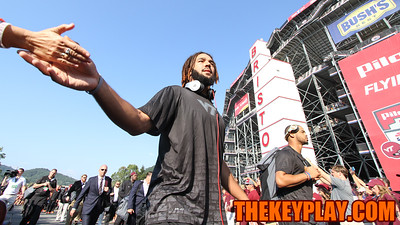 WR Bucky Hodges high fives a fan during the Hokie Walk. (Mark Umansky/TheKeyPlay.com)